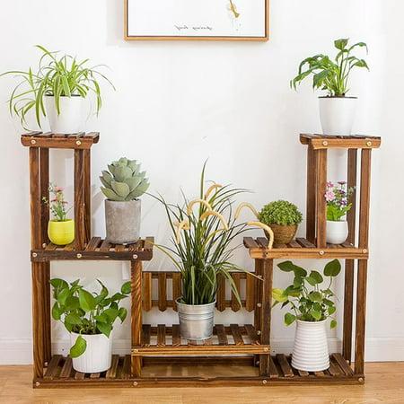 7 Tier Plant Stand Wooden Flowerpot Shelf Rack Garden Holder For Indoor And Outdoor