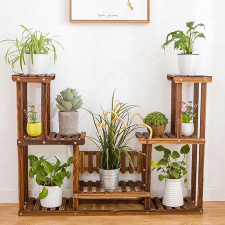 7-Tier Plant Stand Wooden Flowerpot Stand Shelf Rack Garden Plant Holder For Indoor and Outdoor