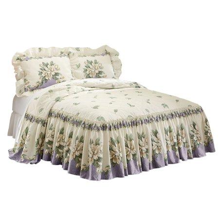 Lilac Garden Full Quilt (Magnolia Garden Floral Ruffle Skirt Lightweight Bedspread, Full, Lilac )