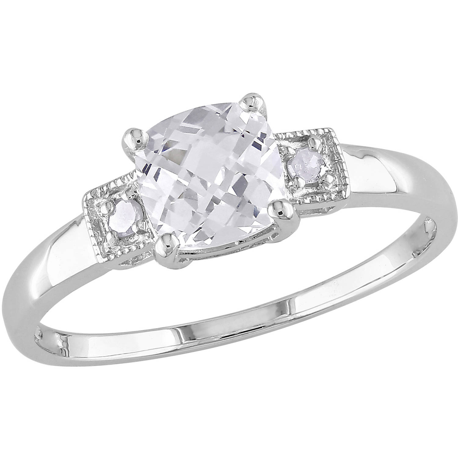 Miabella 1-1/4 Carat T.G.W. Cushion-Cut Created White Sapphire and Diamond Accent Sterling Silver Engagement Ring