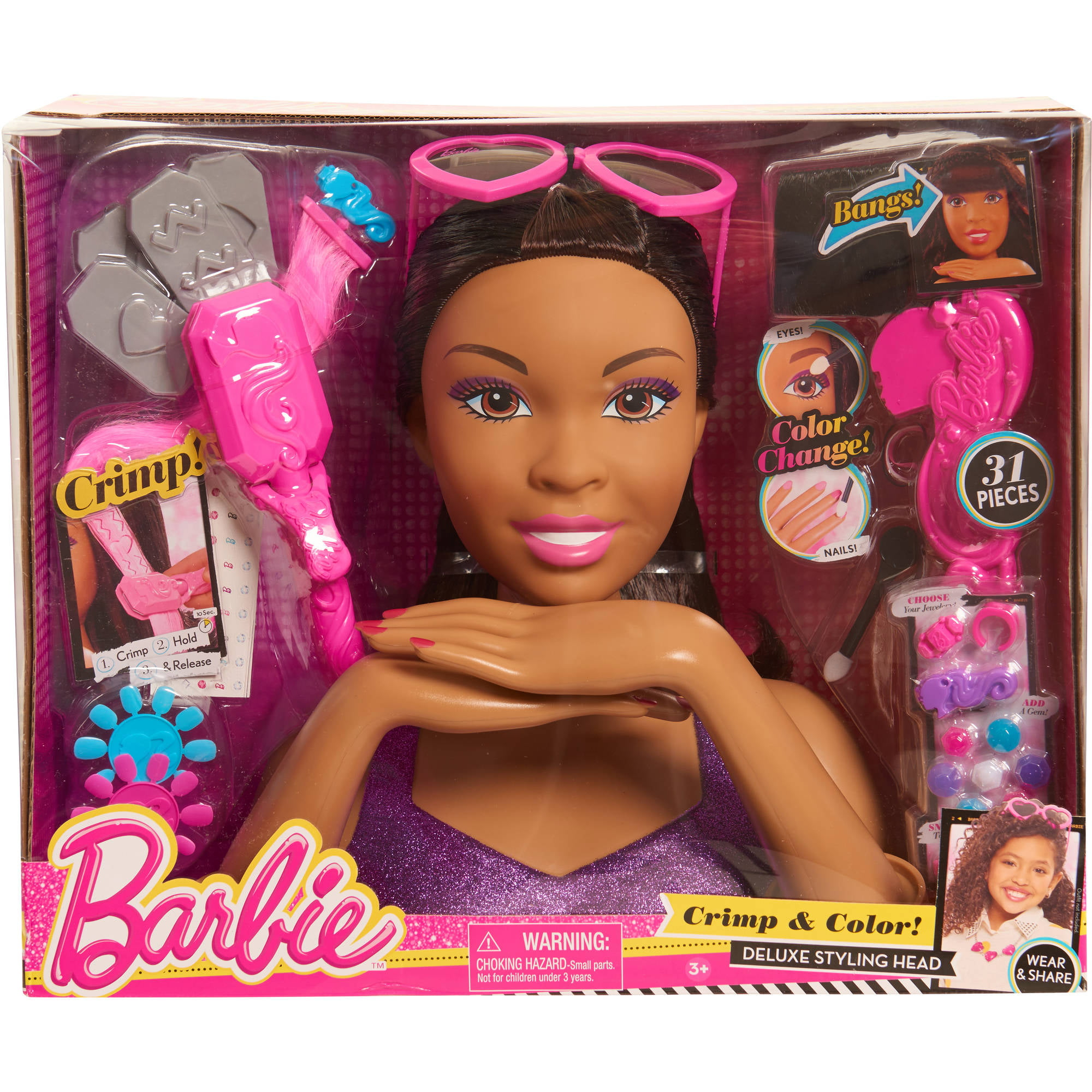 Barbie Crimp and Color Styling Head, African American - Walmart.com
