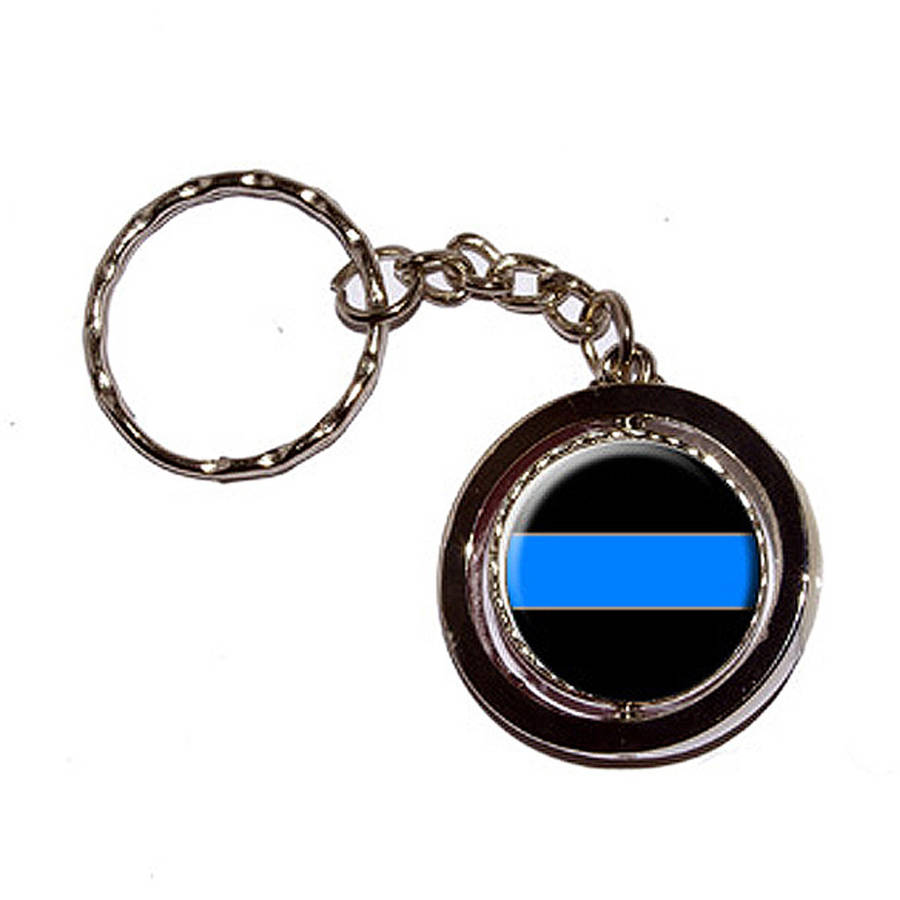 Thin Blue Line Police Policemen New Keychain Ring