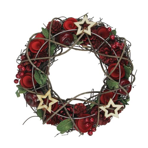 The Holiday Aisle Artificial Floral and Berry with Stars Wreath