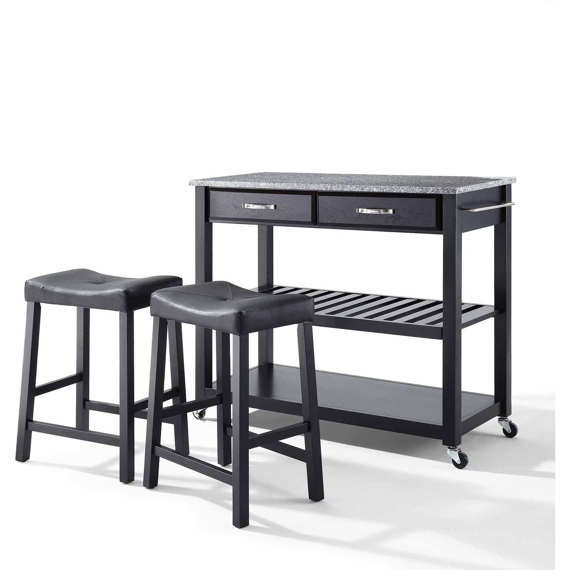 "Crosley Furniture Solid Granite Top Kitchen Cart with 24"" Upholstered Saddle Stools"