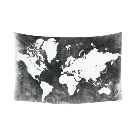 GCKG Black and White Earth World Map Tapestry Wall Hanging Global Map Wall Decor Art for Living Room Bedroom Dorm Cotton Linen Decoration 90 x 60 Inches](60 Decorations)