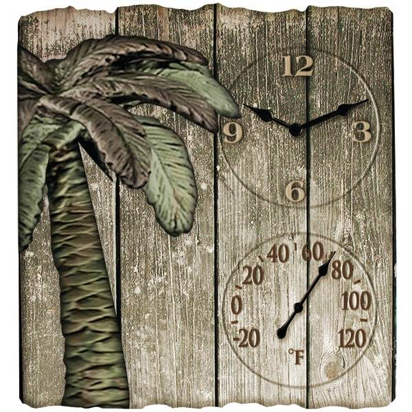 """12"""" x 13"""" Palm Tree Poly Resin Clock with Thermometer"""