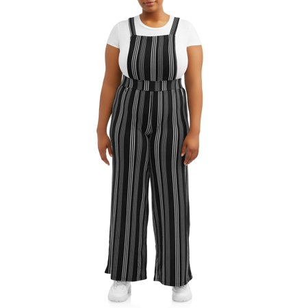 Juniors' Plus Size Striped Peached Overalls](Striped Overalls)