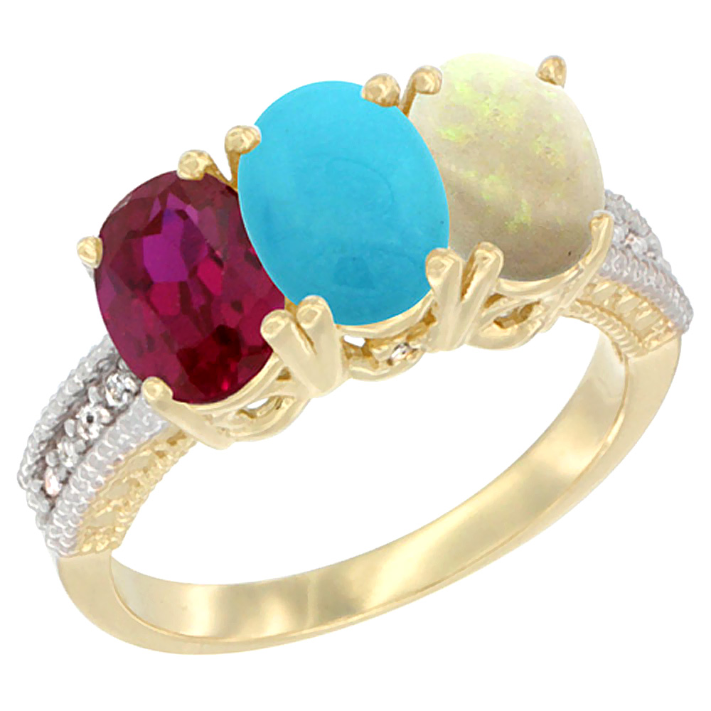 10K Yellow Gold Enhanced Ruby, Natural Turquoise & Opal Ring 3-Stone Oval 7x5 mm, sizes 5 10 by WorldJewels