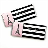 Paris, Ooh La La - Candy Bar Wrappers Party Favors - Set of 24