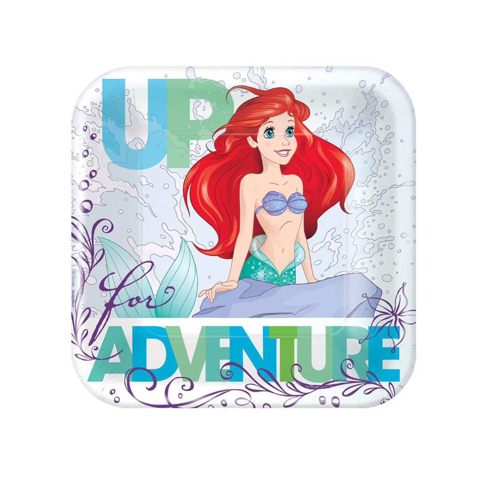 "9"" The Little Mermaid Square Paper Party Plate, 8ct"