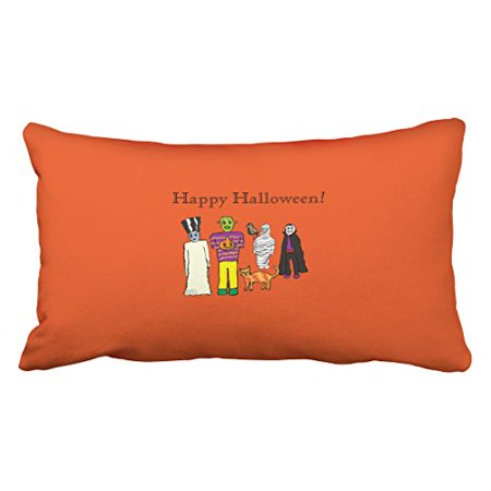 WinHome Modern Funny Halloween Monsters Party Artistic Polyester 20 x 30 Inch Rectangle Throw Pillow Covers With Hidden Zipper Home Sofa Cushion Decorative Pillowcases](20 30 Halloween Party Napa)