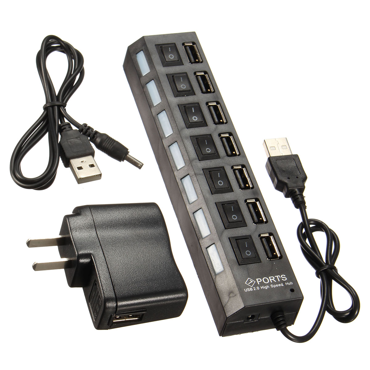 7-Port Super High Speed USB 2.0 Hub Splitter + 5V 2A AC Power Adapter Chord ON/OFF Switch Fast Charger For PC Laptop Mulitple Devices LED indicator lights