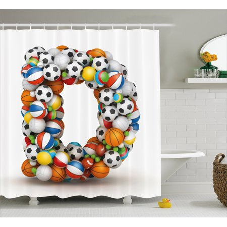 Letter D Shower Curtain Typescript In Sports Inspired Style Fun Game Match Play Kids Boys