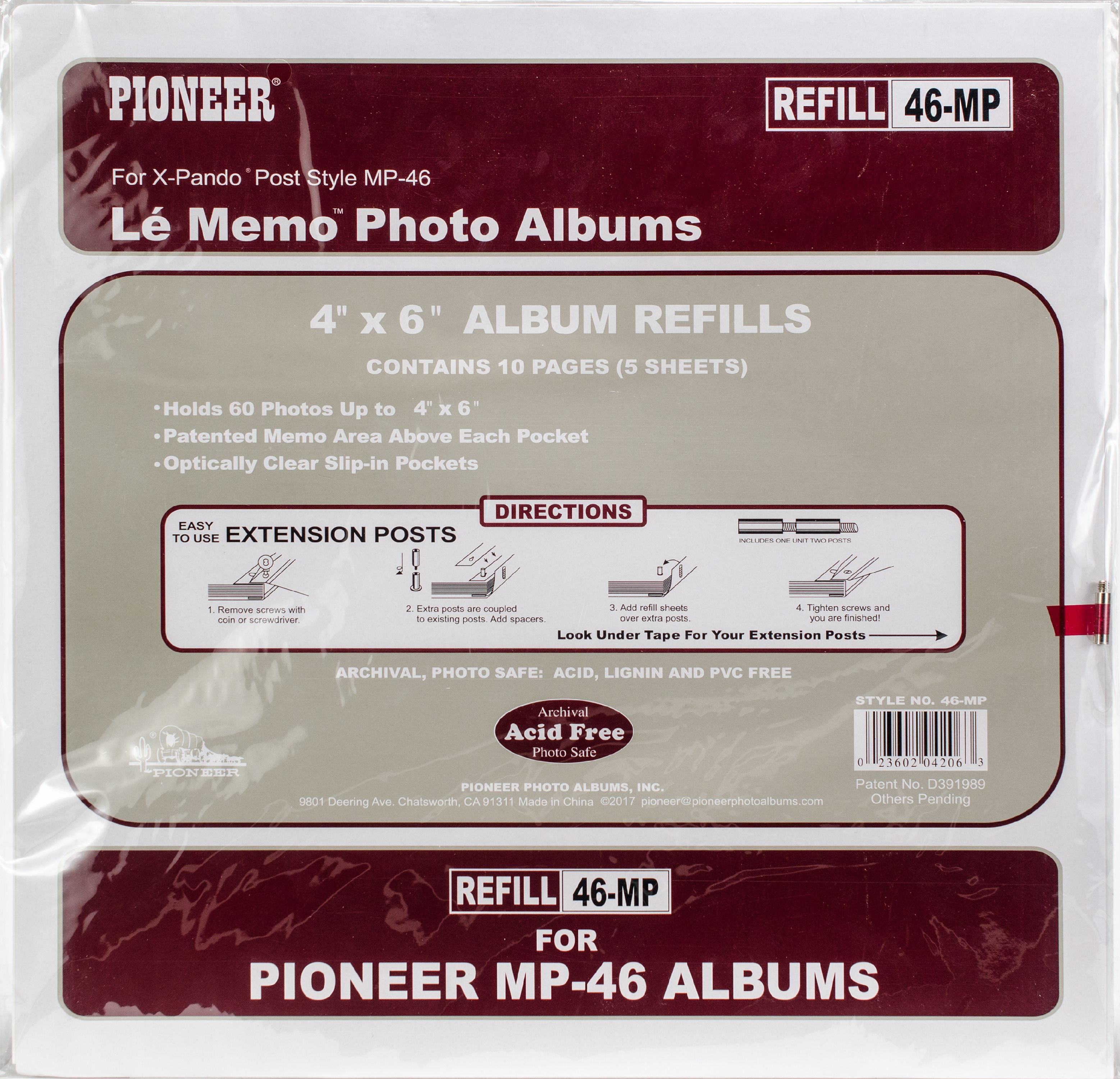 Pioneer 6 Up Refill Pages 6pkg For Mp46 Photo Album Walmartcom