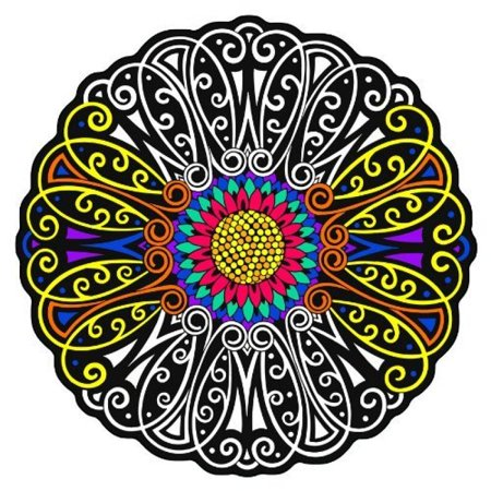 Flower Fuzzy Velvet Coloring Mandala - 20x20 Inches - Coloring - Velvet Coloring Posters