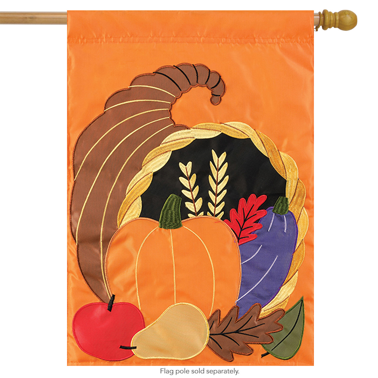 "Cornucopia Thanksgiving Applique House Flag Embroidered Holiday 2 Sided 29""x42"""
