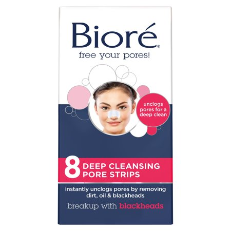 (3 pack) Biore Deep Cleansing Nose Pore Strips, 8 Ct Deep Cleansing Pore Strips Nose