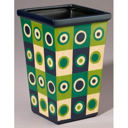 (Retro Checkered Porcelain Planter in Green & Blue)