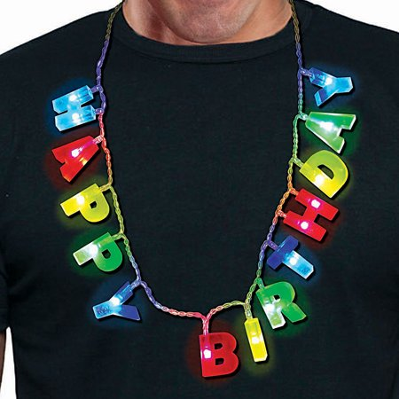 Light Up Happy Birthday Necklace - 16 Inch Glowing Novelty Party Jewelry](Light Up Necklaces Bulk)
