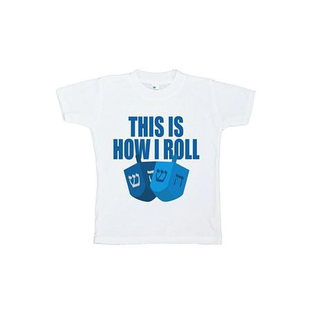 Custom Party Shop Baby's How I Roll Funny Hanukkah T-shirt - Medium (10-12) T-shirt