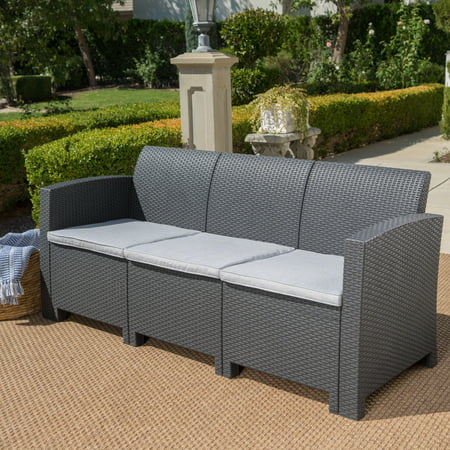 Pete Outdoor 3 Seater Faux Wicker Rattan Style Sofa with Cushions, Light Grey ()