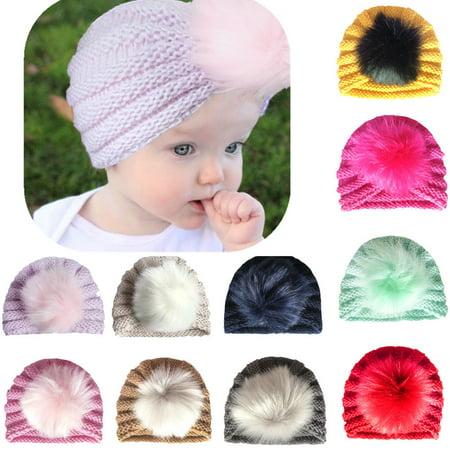 Kids Baby Boys Girls Warm Winter Knit Beanie Artificial Fur Pom Bobble Hat Cap