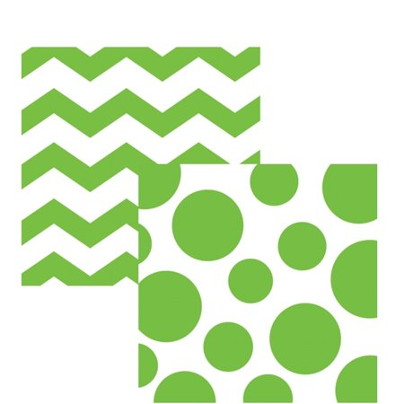 Lime Green Chevrons and Dots Printed Beverage Napkins (16 (Dot Print Beverage Napkins)
