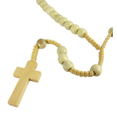 Natural Wooden Bead & Macrame Rosary - Wooden Cross Necklaces