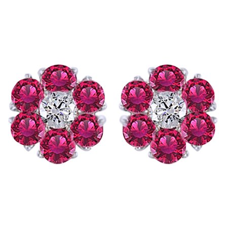 Round Cut Simulated Pink Sapphire With Natural Diamond Cluster Stud Earrings In 14K Solid White Gold