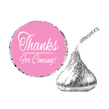 216ct Light Pink Thanks for Coming Party Favor Hersheys Kisses Candy Decoration Stickers / Labels Hershey Kiss Stickers