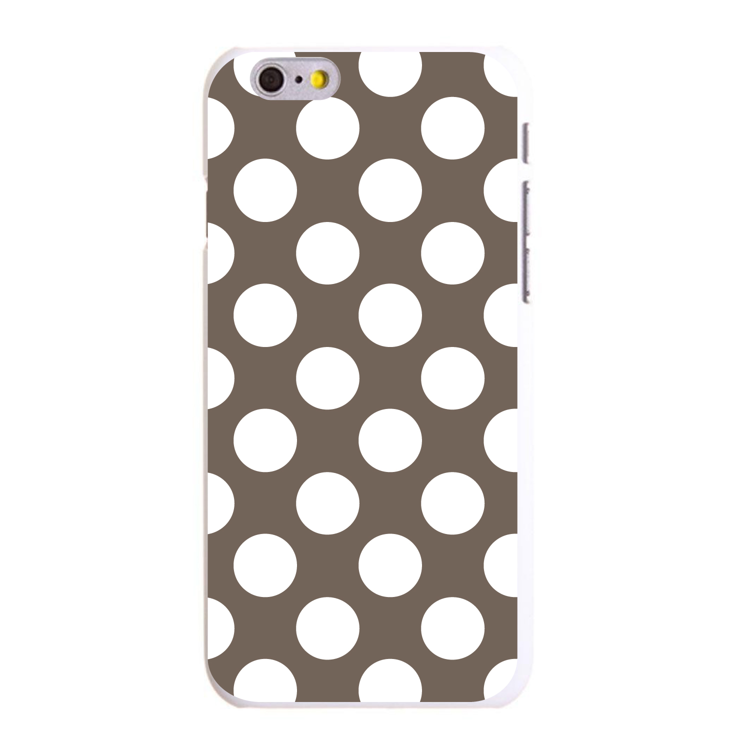 "CUSTOM White Hard Plastic Snap-On Case for Apple iPhone 6 / 6S (4.7"" Screen) - White & Taupe Polka Dots"