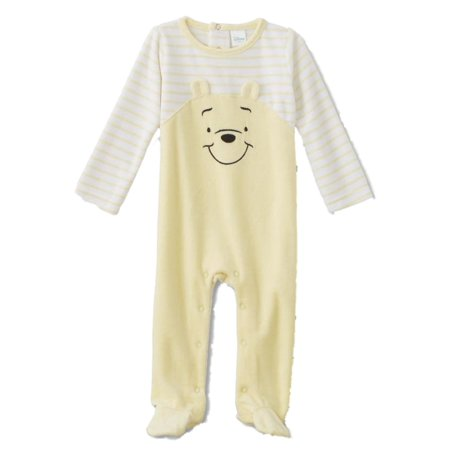 Bears Infant Sleeper - Infant Boys Stripe Yellow Velour Winnie The Pooh Footie Pajamas Bear Sleeper
