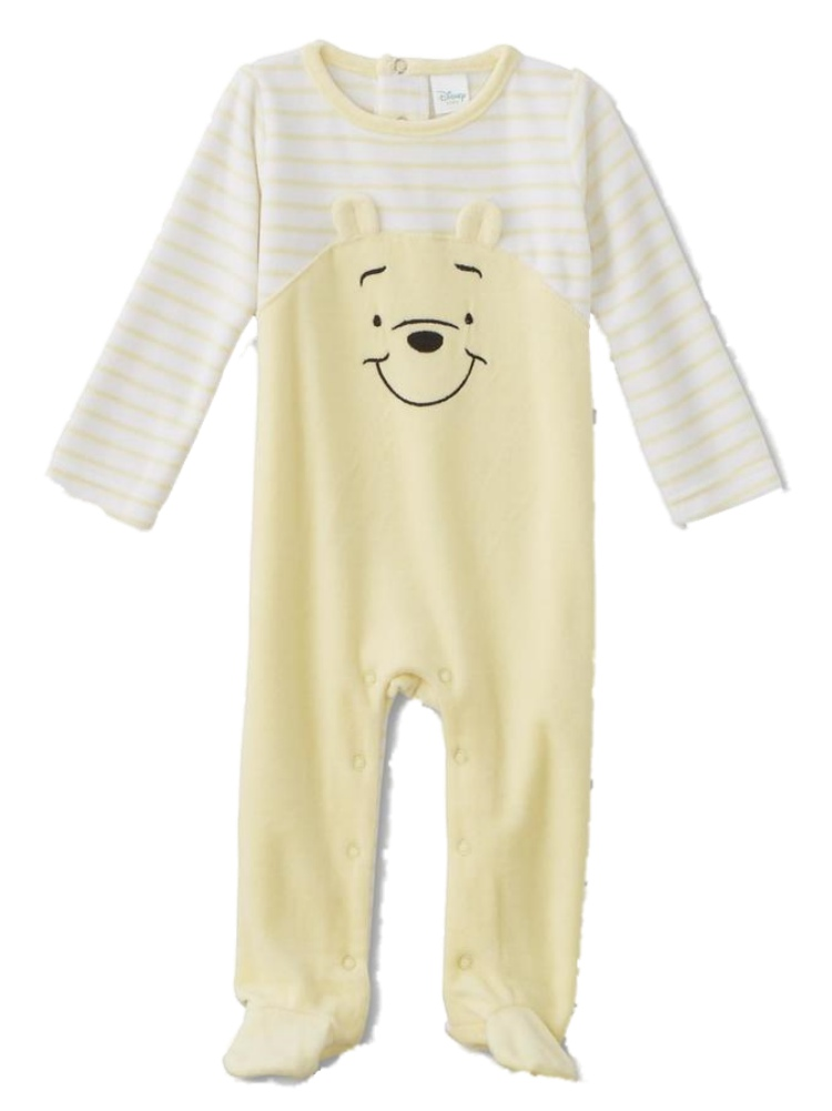 Infant Boys Stripe Yellow Velour Winnie The Pooh Footie Pajamas Bear Sleeper