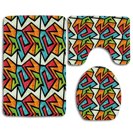 XDDJA Grunge Colorful Graffiti Abstract Geometric Retro Inspired 3 Piece Bathroom Rugs Set Bath Rug Contour Mat and Toilet Lid Cover - image 1 of 2
