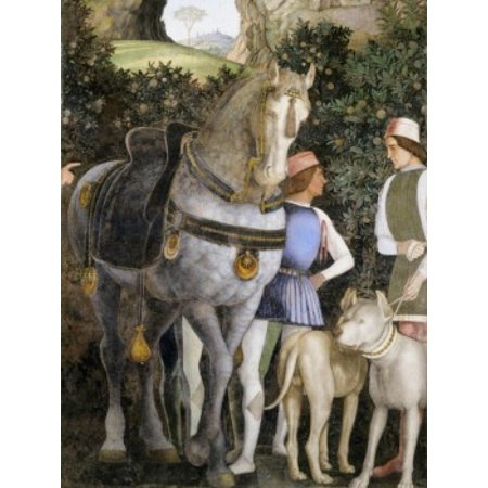 Camera degli Sposi Grooms with Horse and Two Dogs (Detail) Andrea Mantegna (1431-1506 Italian) Fresco Palazzo Ducale Mantua Canvas Art - Andrea Mantegna (24 x 36)