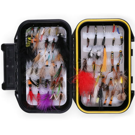 60 PCS Dry Wet Flies for Fly Fishing with Waterproof Fly Box - Woolly Bugger Flies, Nymph Flies, Streamers, Emergers, Caddis Fly Assortment for Trout Bass (Stimulator Dry Fly)