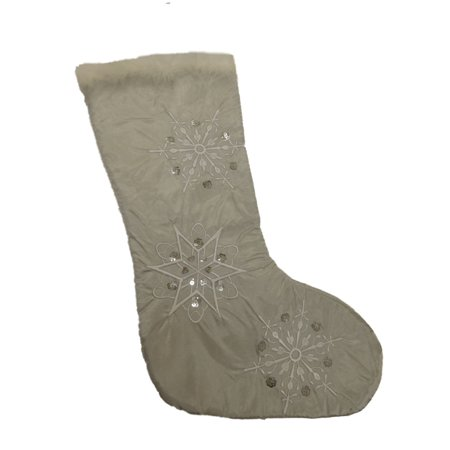 Embellished Silver Satin Sequin & Faux Fur Christmas Holiday Stocking Embellished Faux Fur