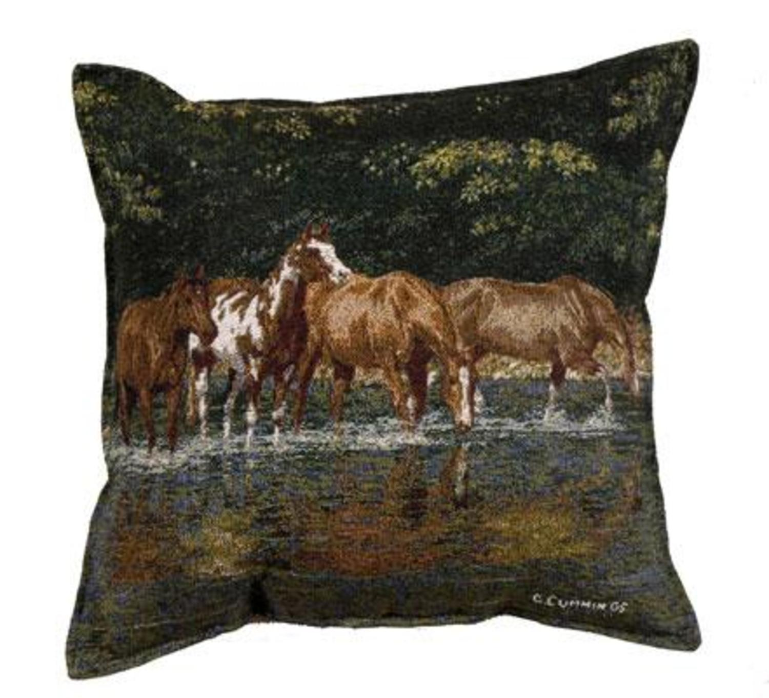 Pack of 2 Horse Reflections Tapestry Square Throw Pillows 17""