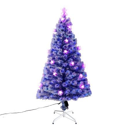 Frost Blue Artificial Fiber Optic and LED Star Prelit Christmas Tree -  Walmart.com - HomCom 5 Ft. Frost Blue Artificial Fiber Optic And LED Star Prelit