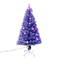 frost blue artificial fiber optic and led star prelit christmas tree