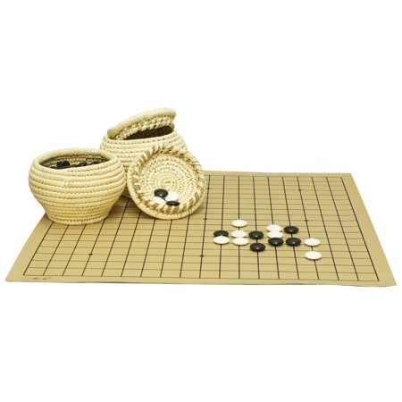 - Go Game Double Convex Plastic Stones and Grass Knitted Holder Bowls Set