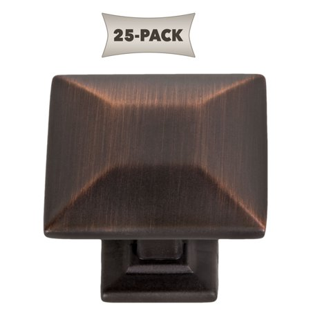 25-Pack Modern Pyramid Square Kitchen Cabinet Hardware Knob 1-1/4 Inch, Oil Rubbed Bronze