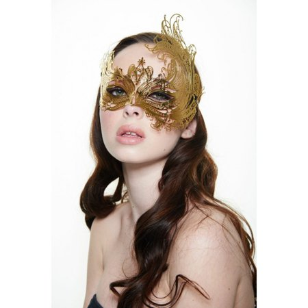 KAYSO INC BF003GD MAJESTIC SWAN METALLIC LASER CUT MASQUERADE MASK (GOLD WITH CLEAR RHINESTONES)