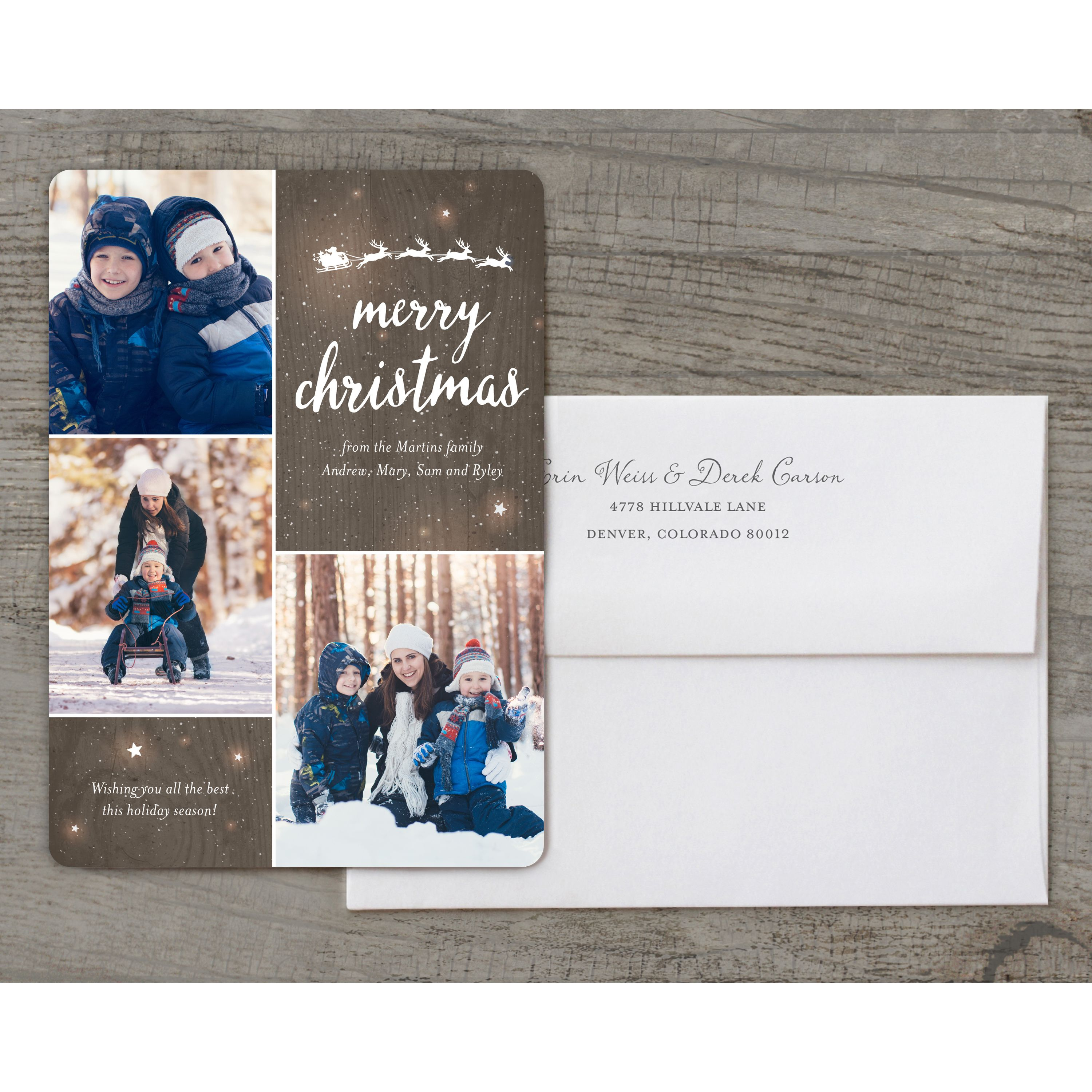 Twinkling Stars - Deluxe 5x7 Personalized Holiday Christmas Card