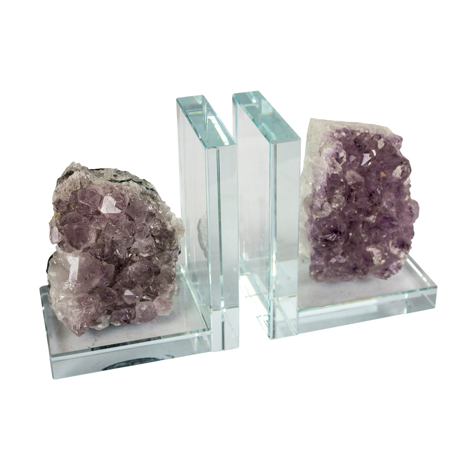 SageBrook Home Amethyst and Glass Bookend - Set of 2