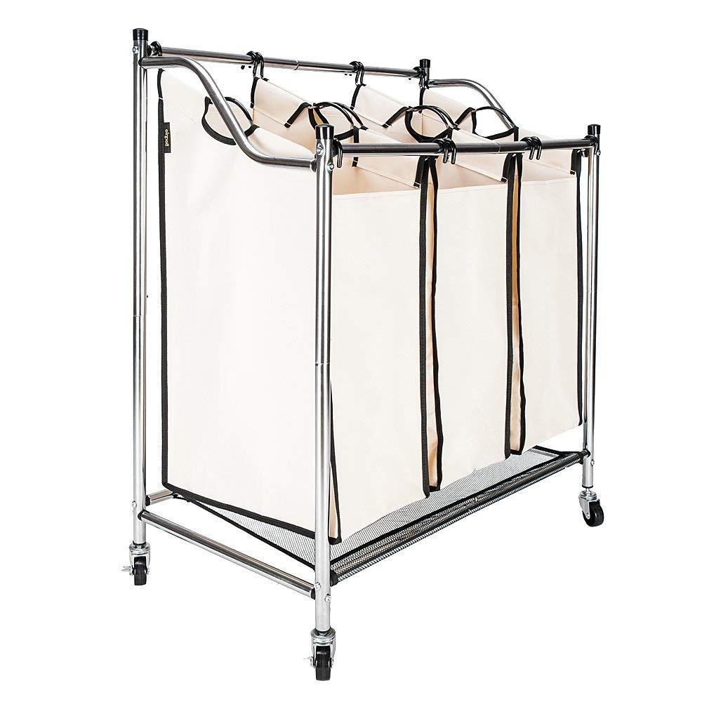 Ktaxon Laundry Sorter Cart 3-Bag Triple Heavy-Duty Rolling Laundry Hamper /Organizer with Removable Bags & Wheels, Beige
