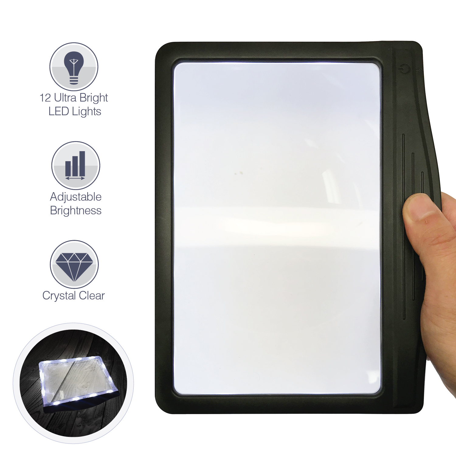 MagniPros 3X Large Ultra Bright LED Page Magnifier with 12 Anti-Glare Dimmable LEDs (Provide More Evenly Lit Viewing Area)-Ideal for Reading Small Prints & Low Vision Seniors with Aging Eyes