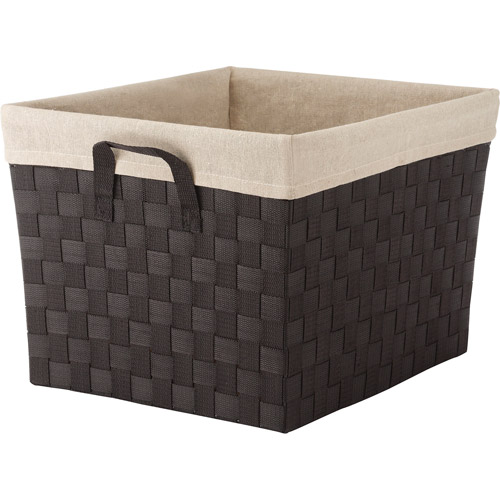Whitmor Woven Strap Extra Large Tote with Liner, Espresso