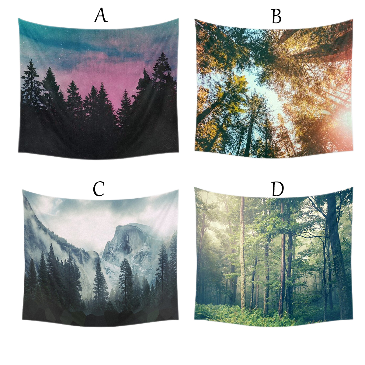 150x130cm/59.06x51.18'' Forest Printing Wall Hanging Tapestry Indian Mandala Wall Hanging Hippie Throw Bedspread Yoga Mat Bohemian Dorm Bedspread Decor US