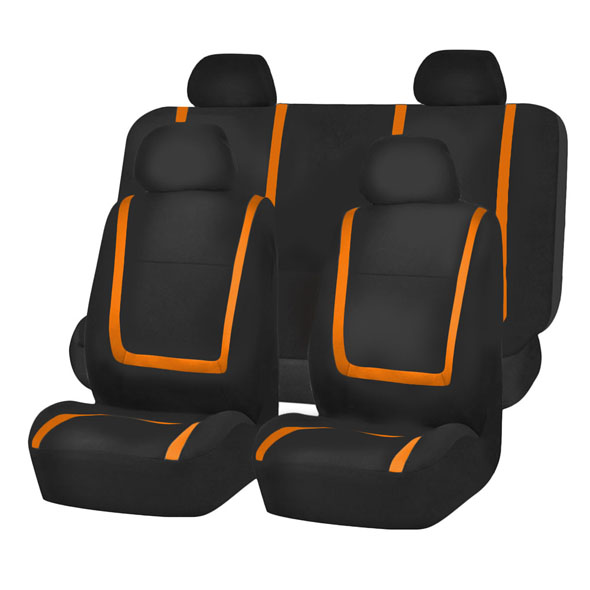 FH Group Unique Flat Cloth Full Set Seat Covers, Orange and Black